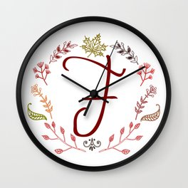 Floral F letter Wall Clock