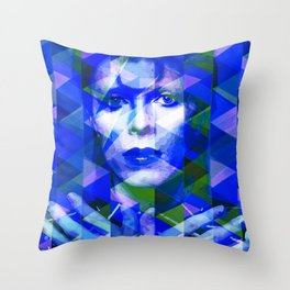 Bowie geometric blue Throw Pillow