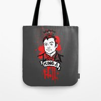 crowley Tote Bags featuring Crowley Is Our King by Nikki Homicide