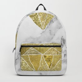 Gold diamond on marble Backpack
