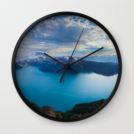 british columbia canada mountains lake view from above Wall Clock