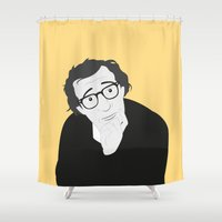 woody allen Shower Curtains featuring Woody Allen by Simone G