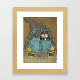 French Bulldog Drives Car Framed Art Print