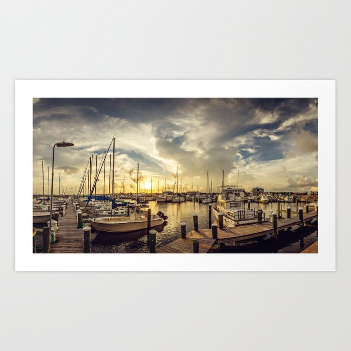 Summer Harbor Sunset Art Print