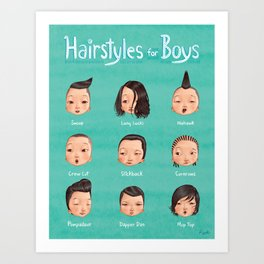 Hairstyles For Boys Art Print