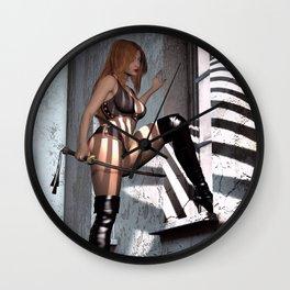 Sexy Samurai girl by window Wall Clock