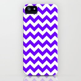 White and Indigo Violet Horizontal Zigzags iPhone Case