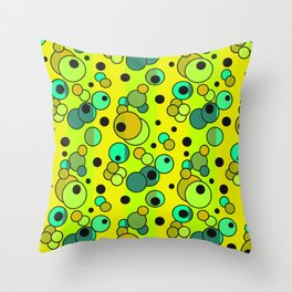 Retro . Colorful yellow green in multi-colored polka dots . Throw Pillow