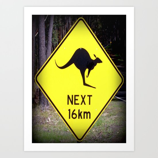 Kangaroo road Sign Art Print