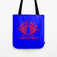 army Tote Bags featuring Cobra army by CarloJ1956