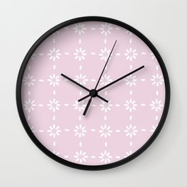 White flowers stitches on pink Wall Clock