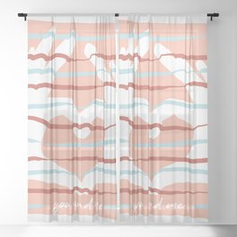 Stripes hand: you and me Sheer Curtain