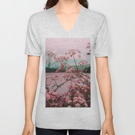 Pink Baby's Breath White Pink Blossoms Against Turquoise Background Unisex V-Neck