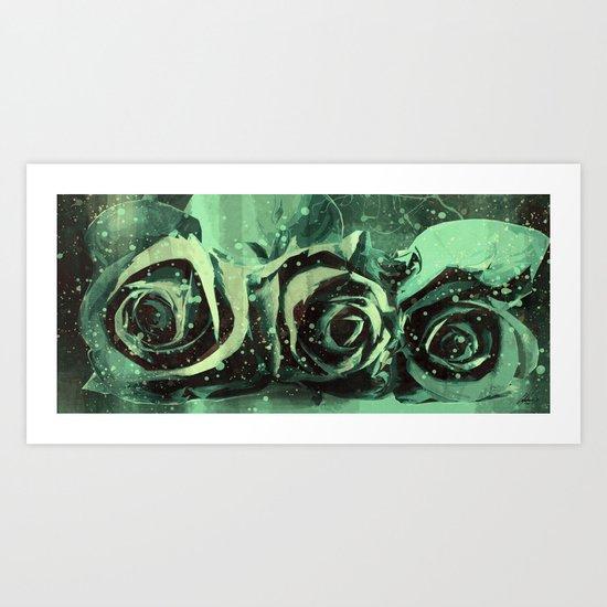 Turquoise Roses Art Print