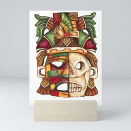 Carved Mayan Life and Death Mask acrylic painting Mini Art Print