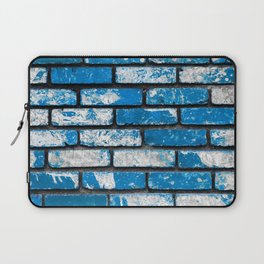 brick wall background in blue and white Laptop Sleeve