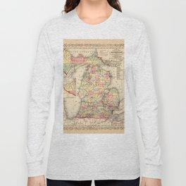 Map Of Michigan 1856 Long Sleeve T-shirt