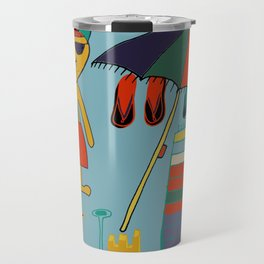 cat at the beach blue Travel Mug