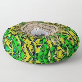 One good world and one Island pop-art Floor Pillow