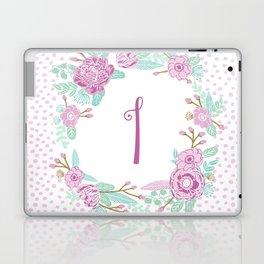 Monogram I - cute girls purple florals flower wreath, lilac florals, baby girl, baby blanket Laptop & iPad Skin