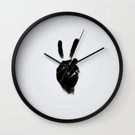 Peace — square and gray Wall Clock