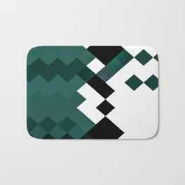 Emerald Green White Black Geometrical Pattern Bath Mat
