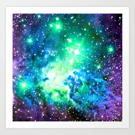 Fox Fur Nebula BRIGHT : Green Blue Purple Galaxy Art Print