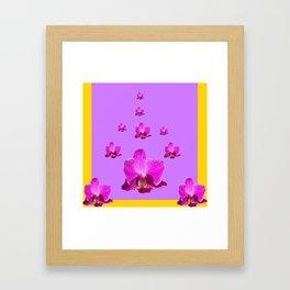 PURPLE ORCHID FLOWERS RAIN YELLOW ART Framed Art Print