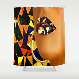 Lips in polyart Shower Curtain