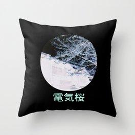 Electric Sakura Throw Pillow