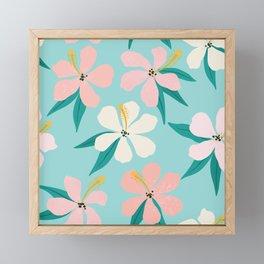 Sweet Tropical Flower Pattern on Sky Blue Framed Mini Art Print