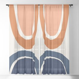 Abstract Shapes 7 in Burnt Orange and Navy Blue Sheer Curtain