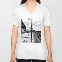 boston V-neck T-shirts featuring Boston by DYCO