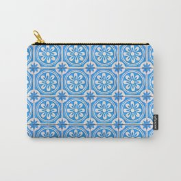 Light-blue acqua floral tiles Carry-All Pouch