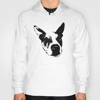 pit bull Hoodies featuring Pit Bull Boxer Mix by MIX INX