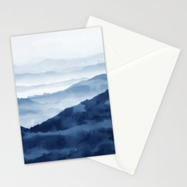 Blue Mountain 2, Abstract Watercolor Art Print By Synplus Stationery Cards