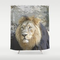 lion king Shower Curtains featuring Lion King by MehrFarbeimLeben