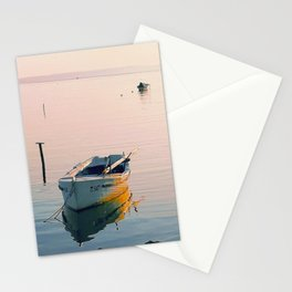 Boats In The Sea At Sunset Stationery Cards