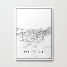 Muscat City Map Oman White and Black Metal Print
