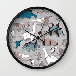 Origami dino friends // grey linen texture blue dinosaurs Wall Clock