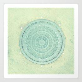 key lime polka dot coal hole cover (london) Art Print