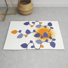 cute flowers and sun,Leaves, Doodle Rug