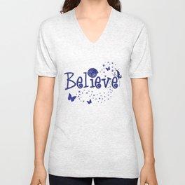 BELIEVE - blue stars & butterflies Unisex V-Neck