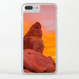 Balanced Rock Sunrise - Valley of Fire Clear iPhone Case