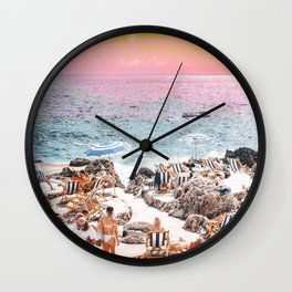 Beach Day, Travel Photography Digital Wall Decor, Tropical Beach Island Collage Wall Clock