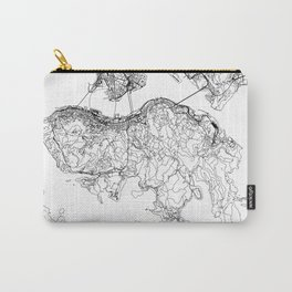 Hong Kong White Map Carry-All Pouch
