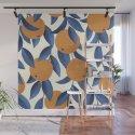 Orange Citrus Blossoms Blue Leaves Seamless Pattern by seam-less