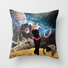 Cat Power Throw Pillow