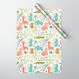 Zoo Pattern in Soft Colors Wrapping Paper