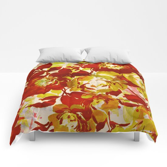 floral in red Comforters